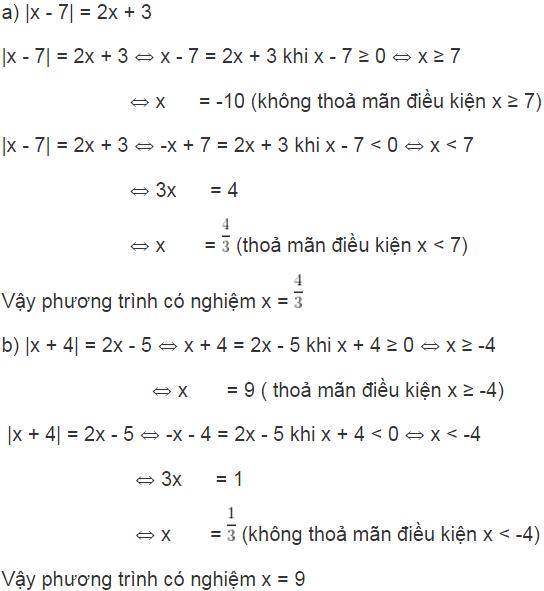 giai toan lop 8 bai 5 phuong trinh chua dau gia tri tuyet doi 2 - Giải Toán lớp 8 Bài 5: Phương trình chứa dấu giá trị tuyệt đối