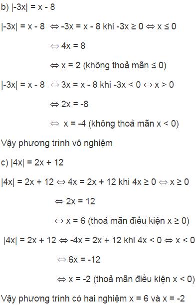 giai toan lop 8 bai 5 phuong trinh chua dau gia tri tuyet doi - Giải Toán lớp 8 Bài 5: Phương trình chứa dấu giá trị tuyệt đối
